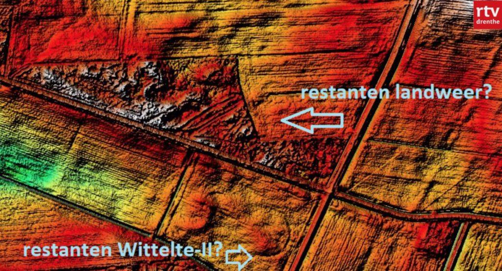 Contouren van de kastelen in Drenthe (schermfoto reportage RTV Drenthe)